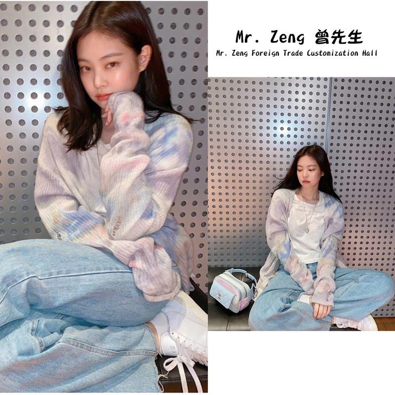 Jennie金智妮明星同款开衫毛衣女韩版宽松外穿春季扎染色针织外套图片