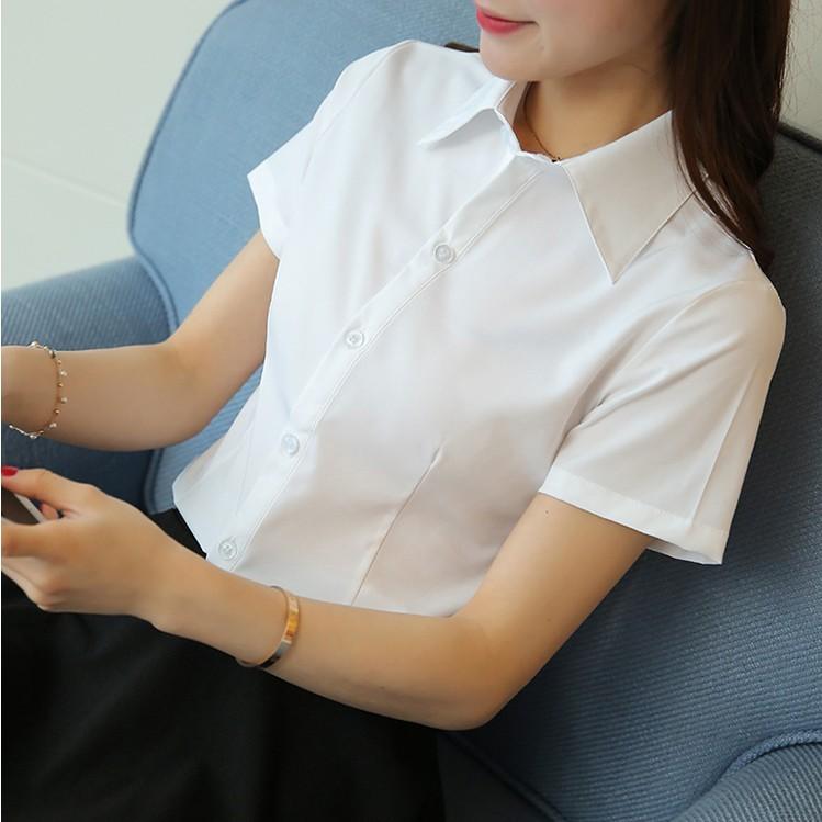 Professional short sleeve white shirt womens 2020 summer new Korean version slim sweet temperament formal work clothes top
