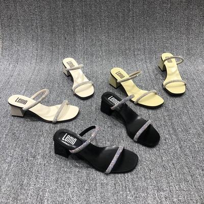 乐魔女鞋LEMO欧洲站2020夏新款拖鞋欧货真皮水钻一字型粗跟凉拖鞋