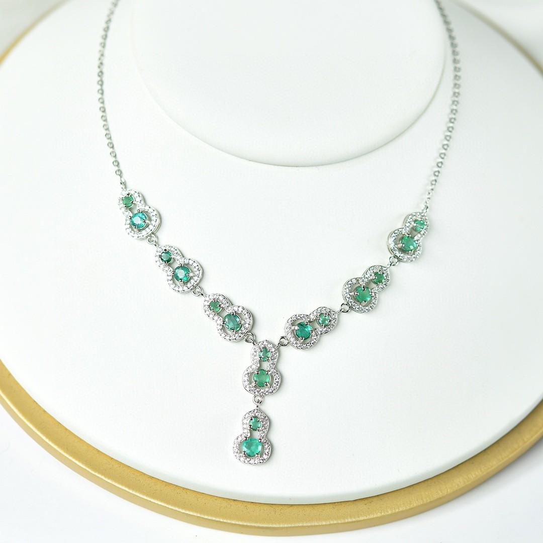 天然祖母绿葫芦项链 S925纯银豪华镶嵌 哥伦比亚祖 母绿项链女款