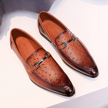 One foot ostrich pattern shoes for men 2020 spring new British style business elevated casual leather shoes for men Lefu shoes