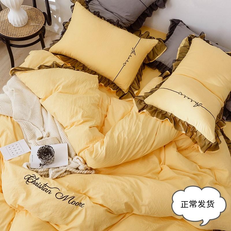 网红款夏季少女全棉水洗棉四件套纯棉宿舍床单被套床上用品三件套