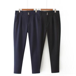特大码女西裤250斤四季可穿简约休闲职业OL风韩版弹力小脚西装裤