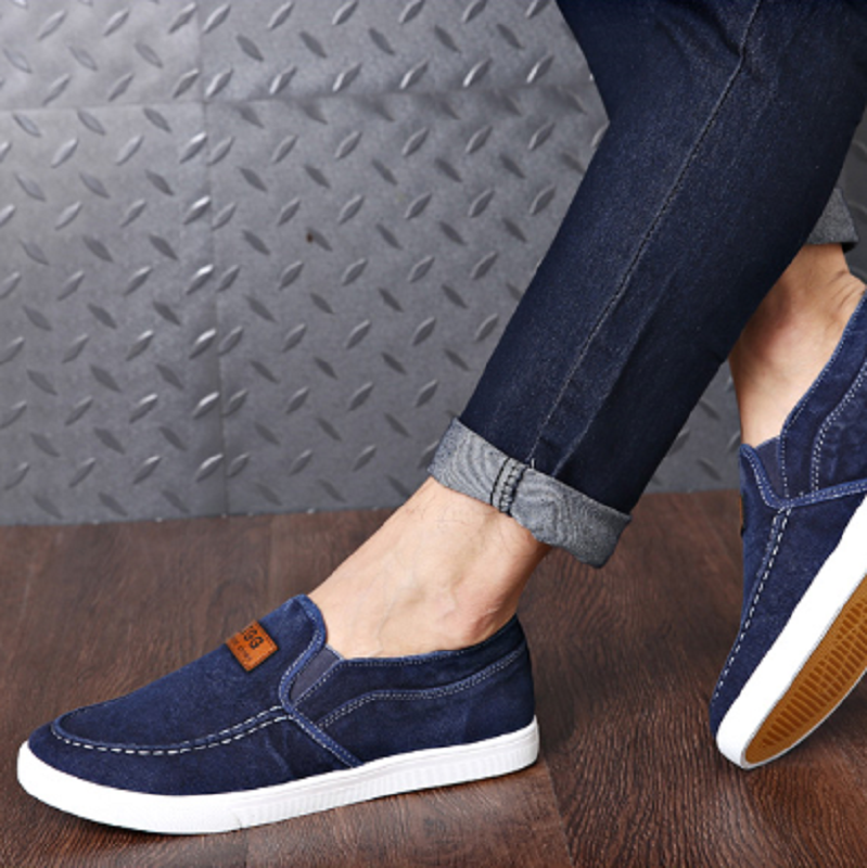 Summer breathable mens shoes old Beijing cloth shoes summer one foot casual canvas shoes cover foot ox sole lazy shoes