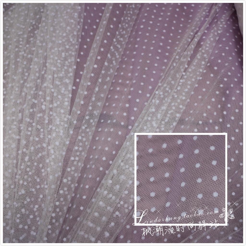 2018新款礼服植绒立体点点水玉小波点软网纱蕾丝布料连衣裙蓬蓬裙