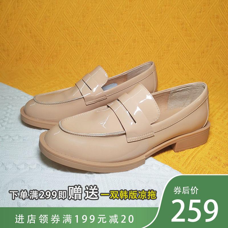 2021春の新作の粗靴です。杏色漆皮皮革楽福靴方とjk制服小靴女9 UL 46