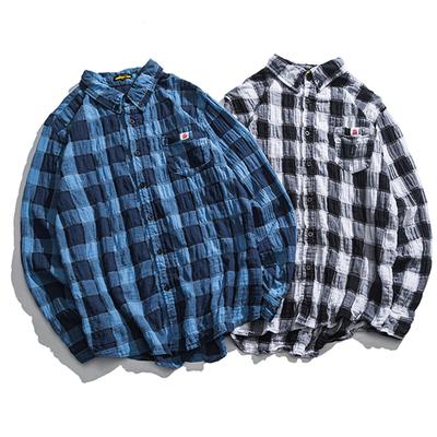 日式春款网纱式小格子小翻领休闲衬衣 A631 P65 售价不得低于8