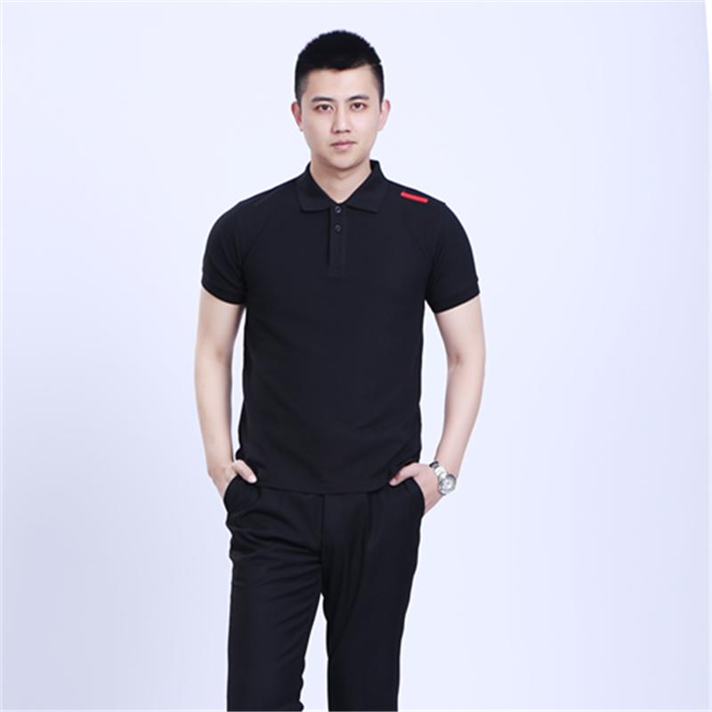 保时捷4S店工装 黑色短袖t恤 新款维修工作服 夏装POLO衫2017包邮