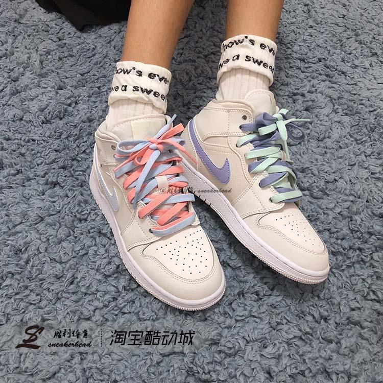 Air Jordan 1 MID AJ1中帮四色鸳鸯米白扣碎湖人报纸熊猫中童女鞋图片