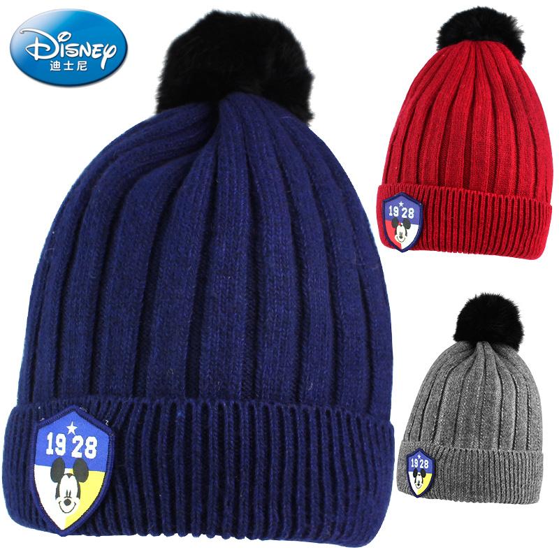 迪士尼米奇帽子冬季男女童套头保暖棉帽小学生大童针织毛线帽单帽