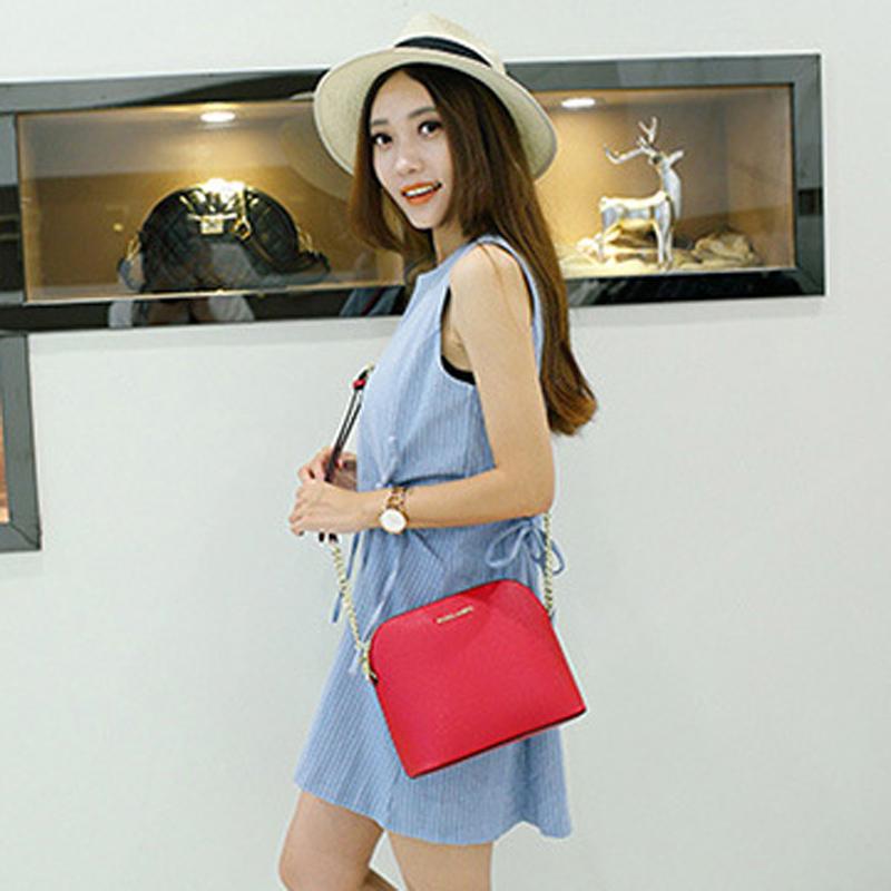 M European and American fashion cross pattern shell bag cowhide single shoulder womens Bag Messenger versatile chain small bag leisure