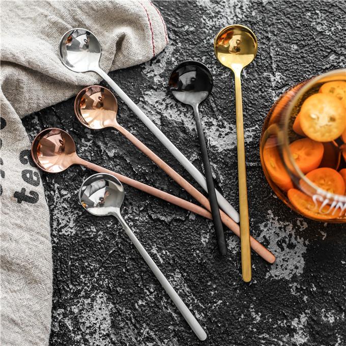 创意圆头304不锈钢甜品勺咖啡勺长柄 搅拌勺调料勺宝宝小勺子调羹
