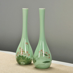 观音玉净瓶青瓷手绘陶瓷花插瓷器小花瓶花器简约时尚家居饰品摆件