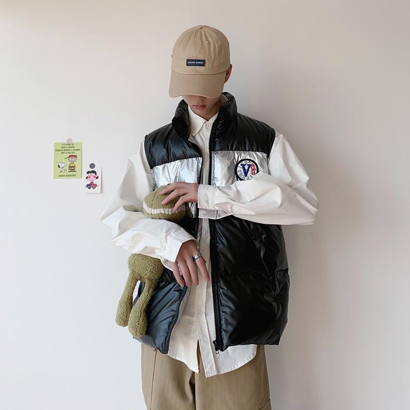 港风2019冬季新款拼接棉马甲男韩版情侣装棉背心外套 M201 P75