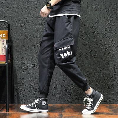 字母已注册2019春装工装裤男束脚休闲裤印花DSA005-2 K916P55黑墙