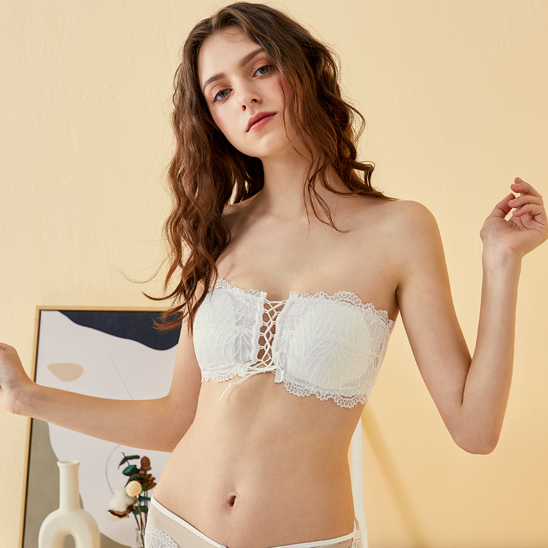 Front strap strapless bra ultra thin non steel ring underwear small chest girl lace wedding dress Strapless invisible bra