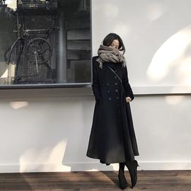 【经典重现2017】黑色毛呢外套女修身赫本风双排扣羊毛大衣图片