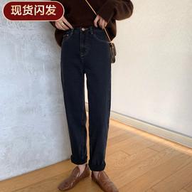 【现货闪发】FFAN泛泛 加绒黑色牛仔裤女复古高腰显瘦修身小脚百图片