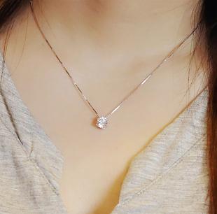 唐嫣同款S925純銀單鑽項鍊女韓版簡約氣質閃鑽鎖骨鏈時尚項墜禮物
