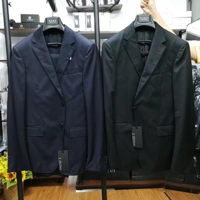 现货ZZ杰ni亚修身羊毛西服套装西装两件套100%羊毛材质深蓝和黑色