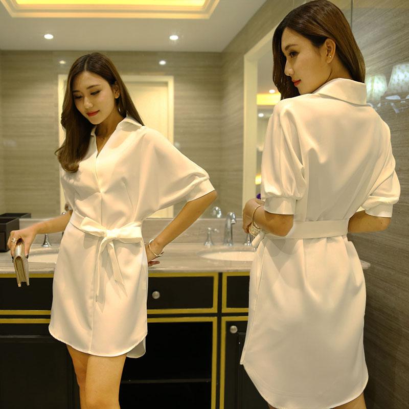 夜场女性感21新款连衣裙子显瘦精品气质工作服大码白衬衫夏纯色