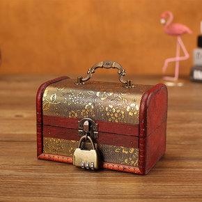 ins风首饰盒复古木质带锁高档饰品手饰收纳盒家用精致小木盒子