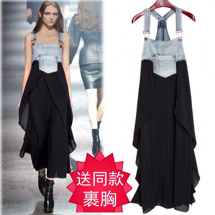 2018欧美时尚女装夏季新款牛仔背带雪纺裙时尚拼接大码吊带连衣裙