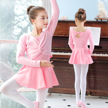 Dance suit childrens autumn winter practice suit girl long sleeve ballet skirt with velvet dance dress Chinese Dance Set