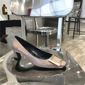 2021春夏季新款rv女鞋网红粗跟方扣单鞋中跟方头细跟高跟婚鞋通勤