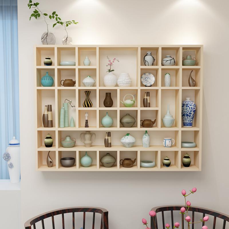 Бесплатная доставка стандарт дерево сетка полка стена на стеллажи настенный хранение кабинет чайник дисплей творческий сетка полка