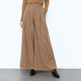 Корейский сетка шерсть широкий брюки женщина 2017 новинка зимний осеннний сгущаться порт вкус динамик брюки талия брюки ребенок