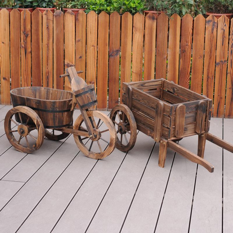 花车木制花架花桶三轮车小车碳化防腐木花盆木桶摄影道具多肉花器