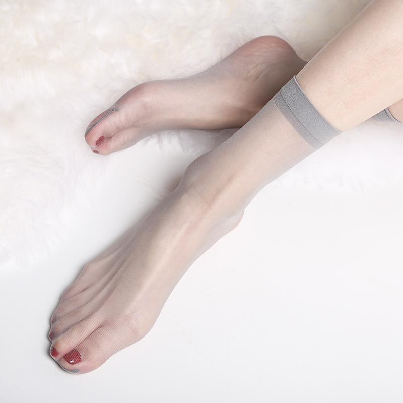 丝滑隐形0D肉丝袜女短超薄春秋款肉色脚尖透明中筒空姐灰薄款袜子