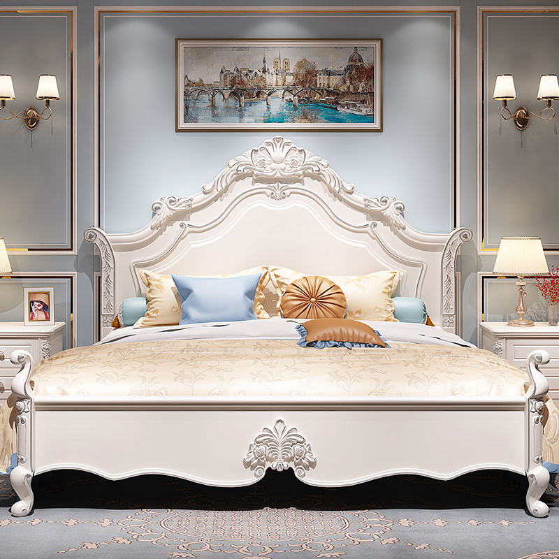 European bed double bed modern simple master bedroom luxurious Jian Ou princess bed 1.8m storage garden solid wood wedding bed