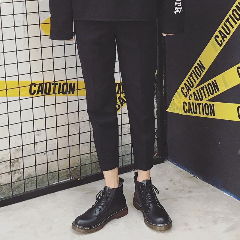 2019新款高帮马丁鞋子男士马丁靴黑色工装时尚大头鞋潮牌鞋休闲鞋