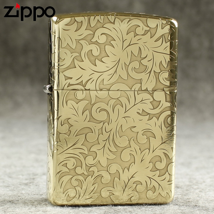 Genuine Zippo windproof lighter kerosene pure copper armor surrounded by etched tangcao Fugui flower on five sides