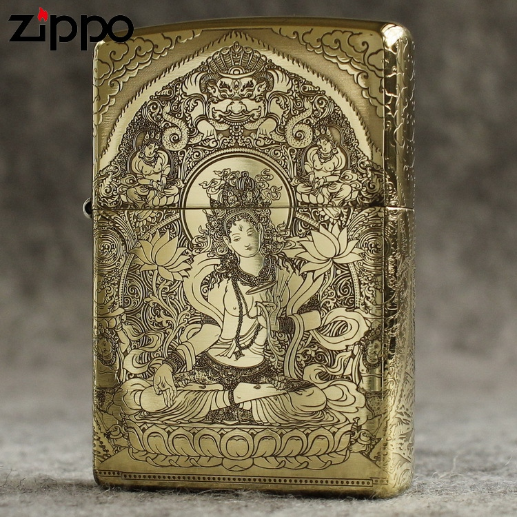 Genuine Zippo Lighter windproof pure copper kerosene armor surrounded by etched White Tara Guanyin Bodhisattva on five sides