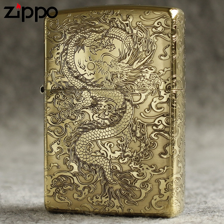 Genuine Zippo Lighter windproof kerosene pure copper armor with five sides etched around dragon pattern dragon flying dragon playing with beads