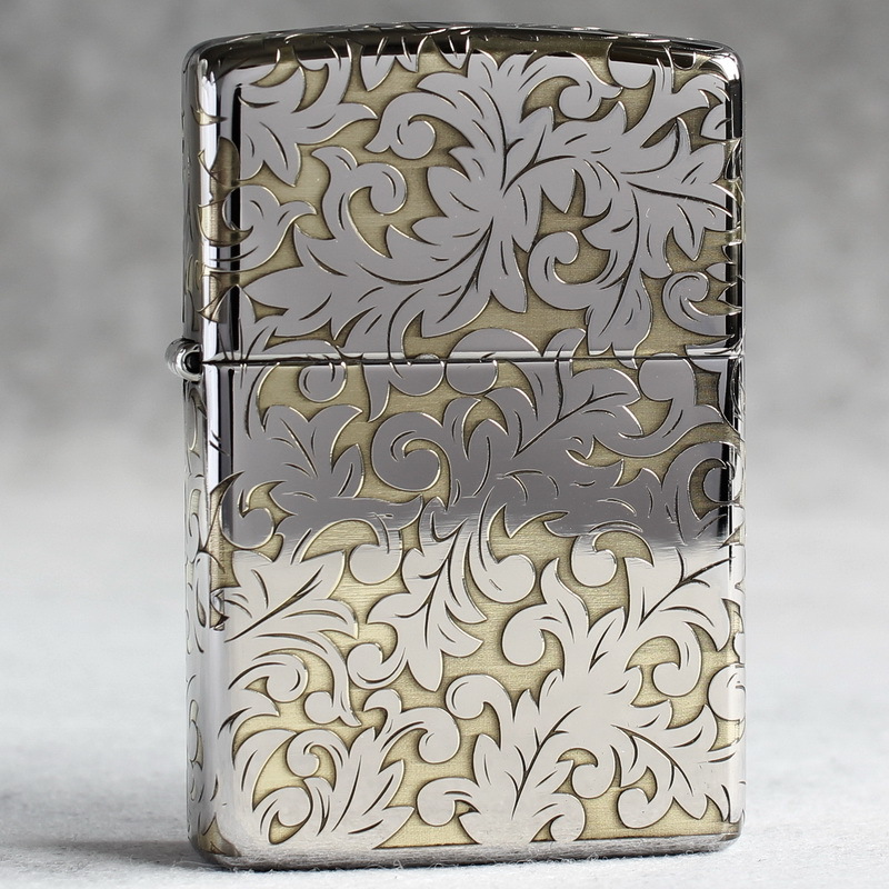 Authentic Zippo windproof lighter mirror (armor) is surrounded by copper leakage Datang grass Fugui flower on five sides