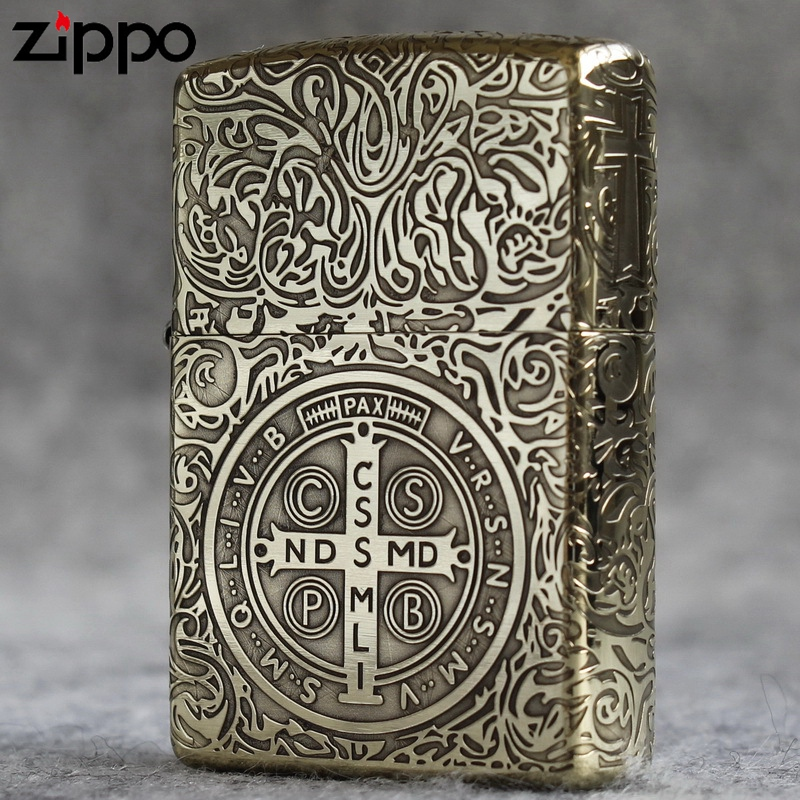 Genuine Zippo Lighter American original pure copper armor collection five sides surrounded by carved Constantine