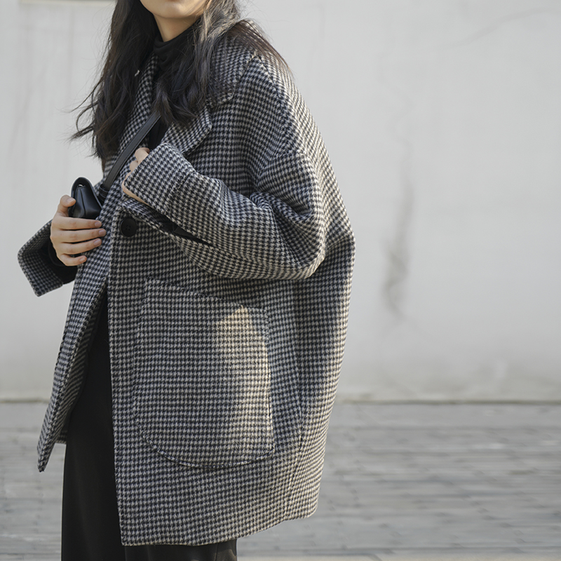 洛边 秋冬季新款短款千鸟格韩版宽松复古格子小西装毛呢外套女