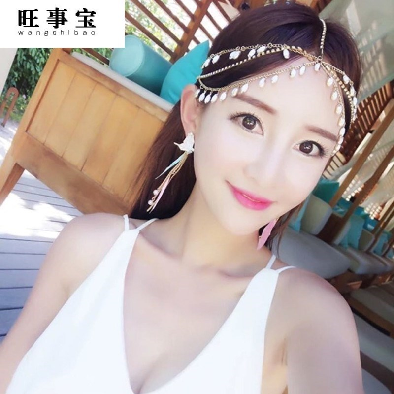 Hair accessories ancient costume hair hoop photography forehead decoration hairstyle twist ethnic decoration tourism short hair color headchain