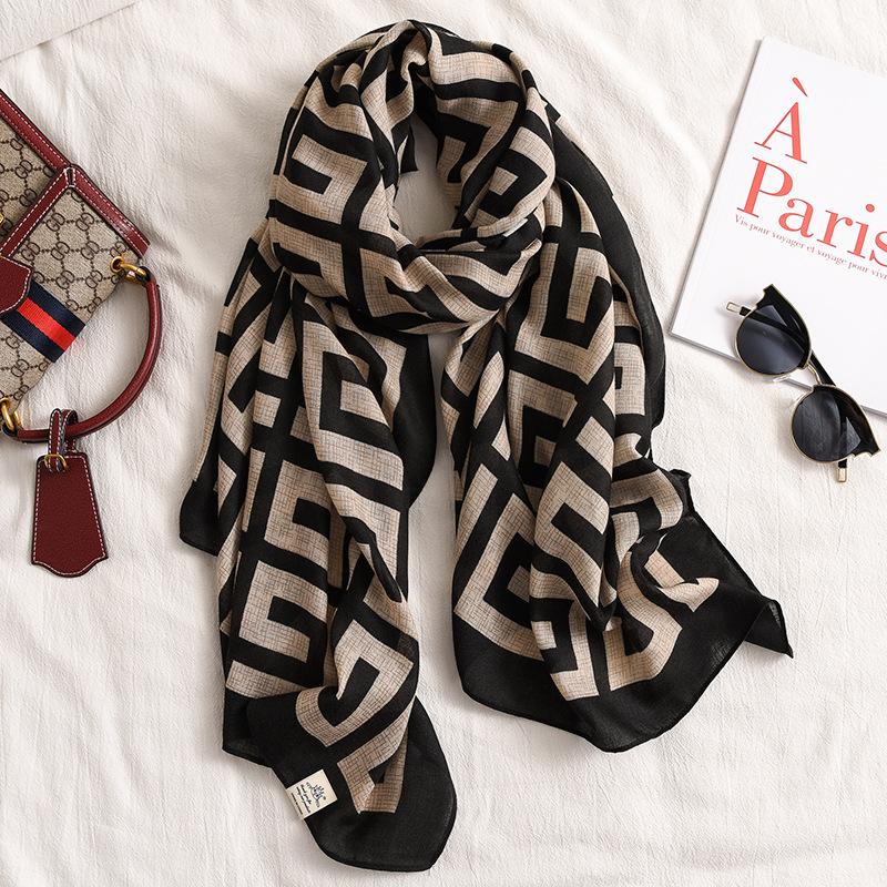 Artistic Khaki cotton linen scarf womens spring and autumn thin Korean version versatile black gray silk scarf shawl winter