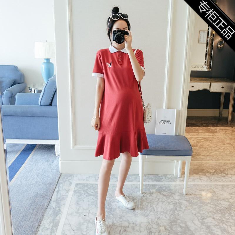 专柜品牌大码宽松孕妇裙连衣裙韩版短袖孕妇装中长款夏季孕妇上衣