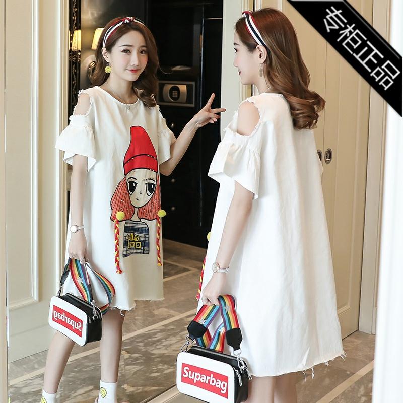 专柜品牌夏季韩版孕妇短袖中长款孕妇装卡通动漫圆领上衣女连衣裙