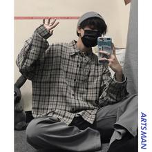 春季男士格子长袖衬衫韩版潮流衬衣潮牌百搭宽松外套港仔文艺男
