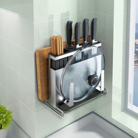 304不锈钢刀架厨房用品壁挂式置物架一体多功能砧菜板刀具收纳架图片