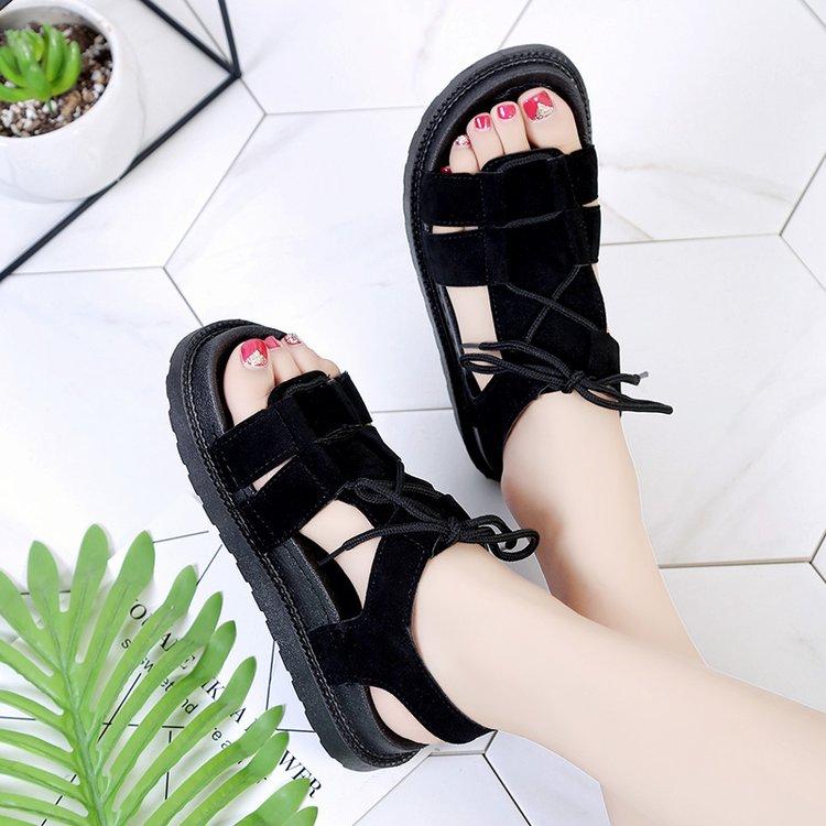 2018夏季新款平底低跟平跟松糕跟厚底羅馬鞋系帶女涼鞋學生鞋女鞋