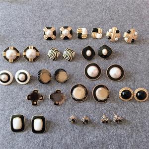 新品 vintage 欧美 复古时髦西洋古董万年经典黑白色耳夹耳钉