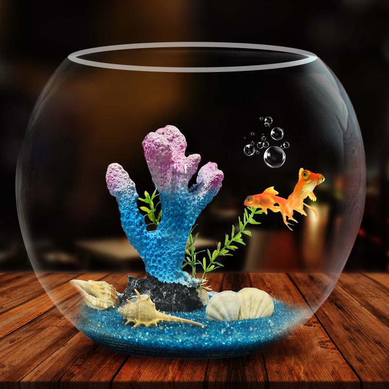 鱼缸生态圆形玻璃金鱼缸乌龟缸桌面小型造景水培花瓶圆型小鱼缸